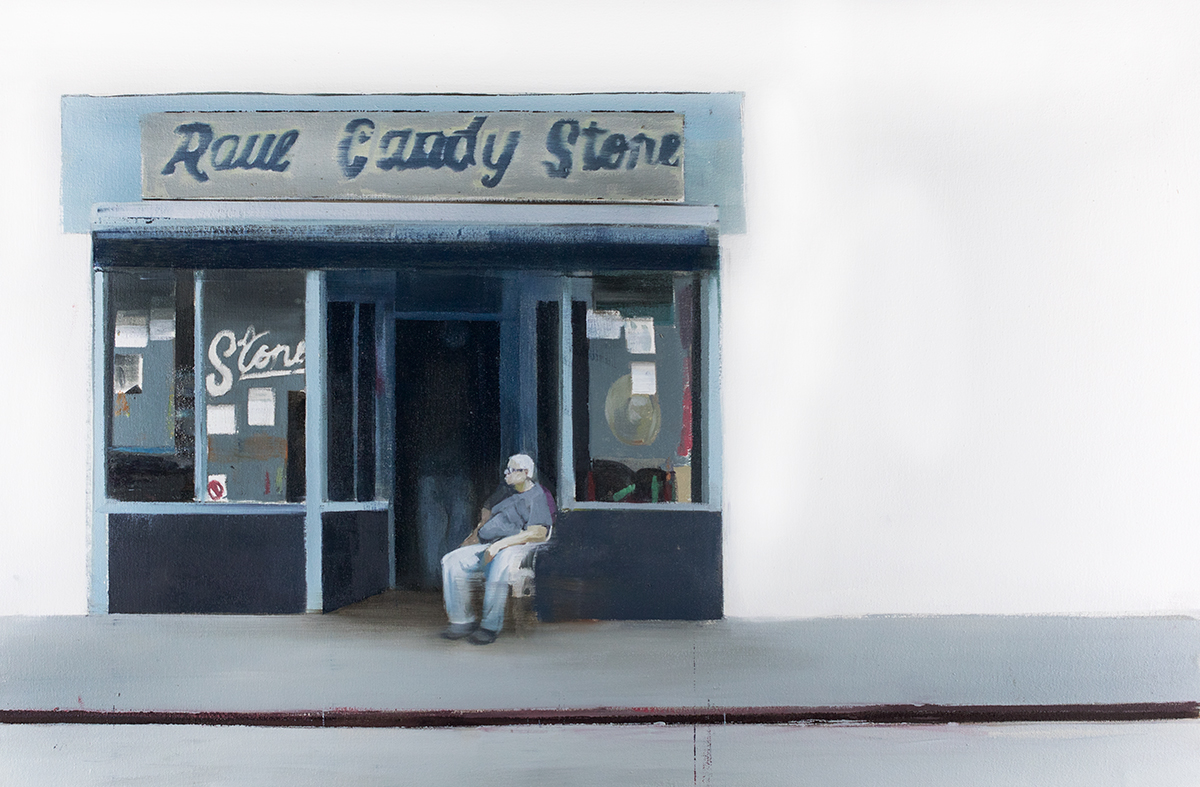 Raul Candy Store (Waiting245)  oil on canvas        24x36 inches     2015