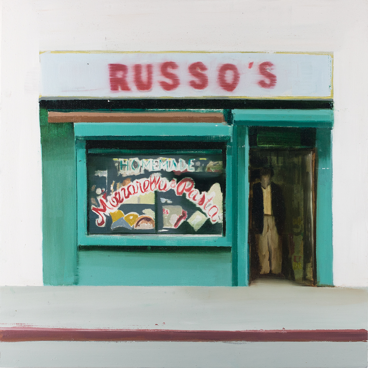 Russo's (Waiting#253)  oil on wood panel  20x20 inches   2015
