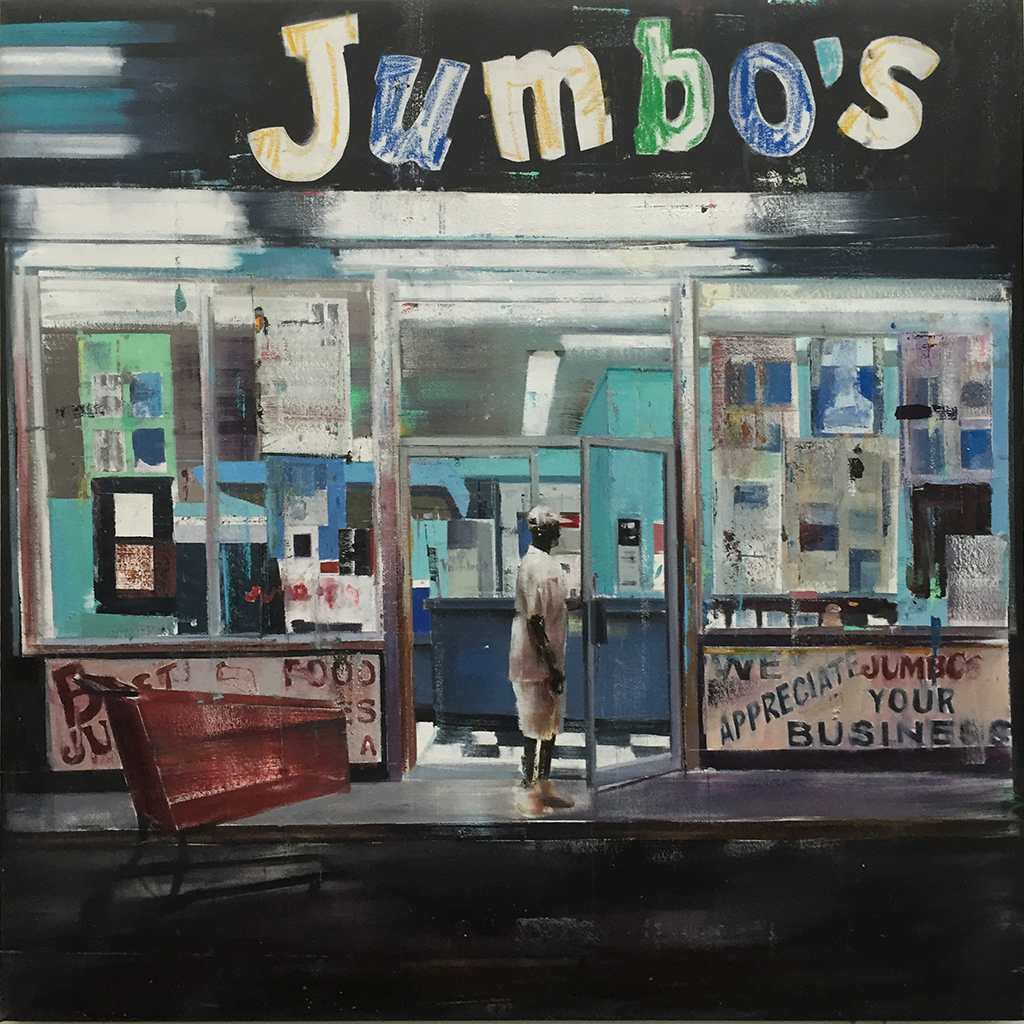 "Jumbo's (Waiting#217)      oil on canvas    2014        ""48x48"""