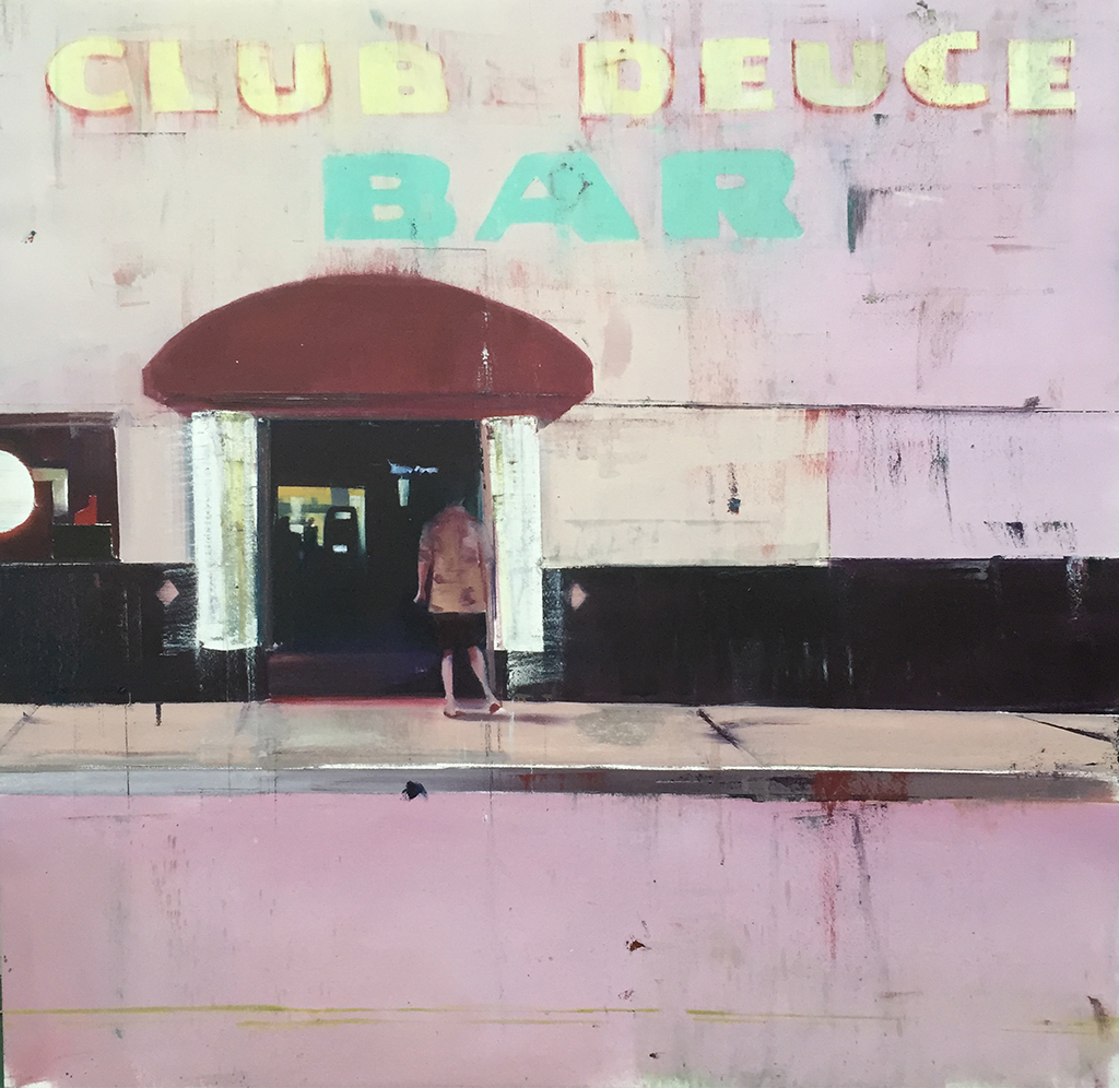 "Club-Deuce (Waiting#220)      oil on canvas     2014        ""48x48"""