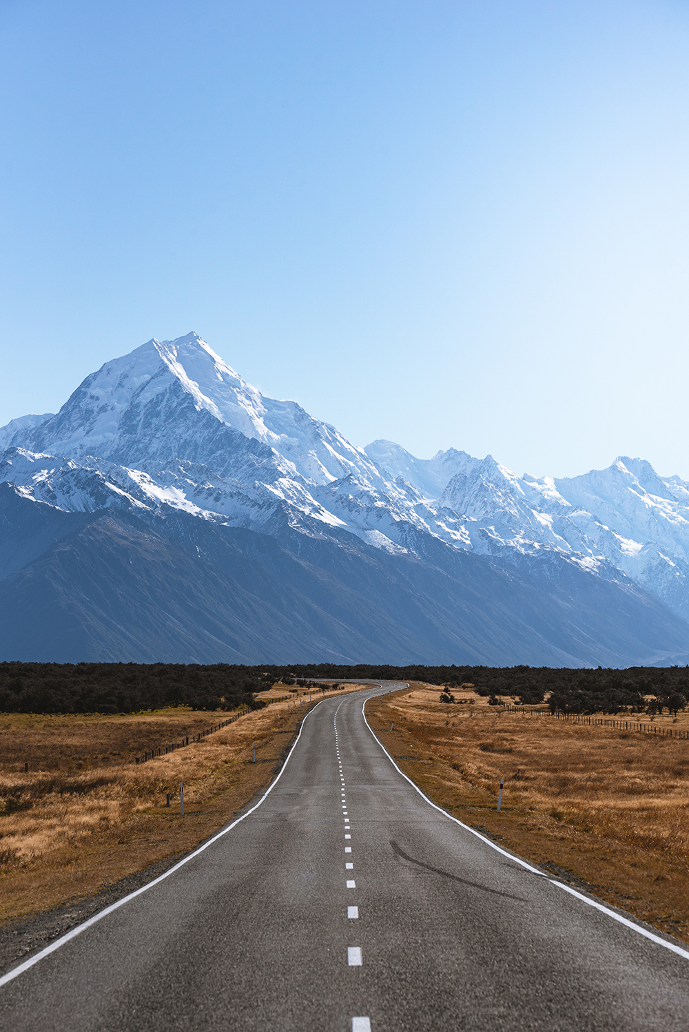 The view towards Mount Cook in the South Island.