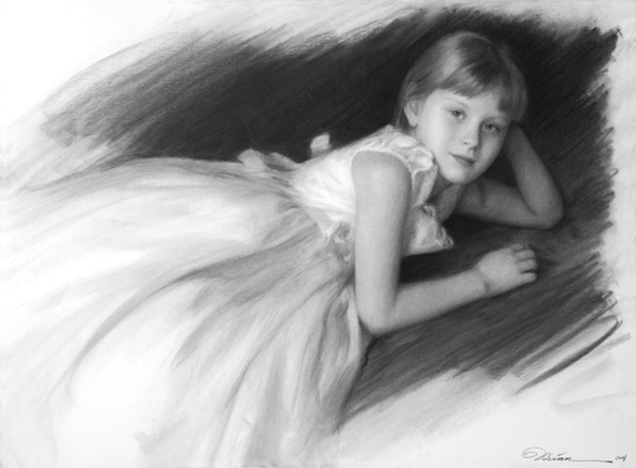 """3/4 Charcoal Portrait $1500 - From Life - $2500 - From Photo approx. size: 22"""" x 30"""""""