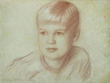 Sepia Portrait Drawing $200 from Life - $500 From Photo