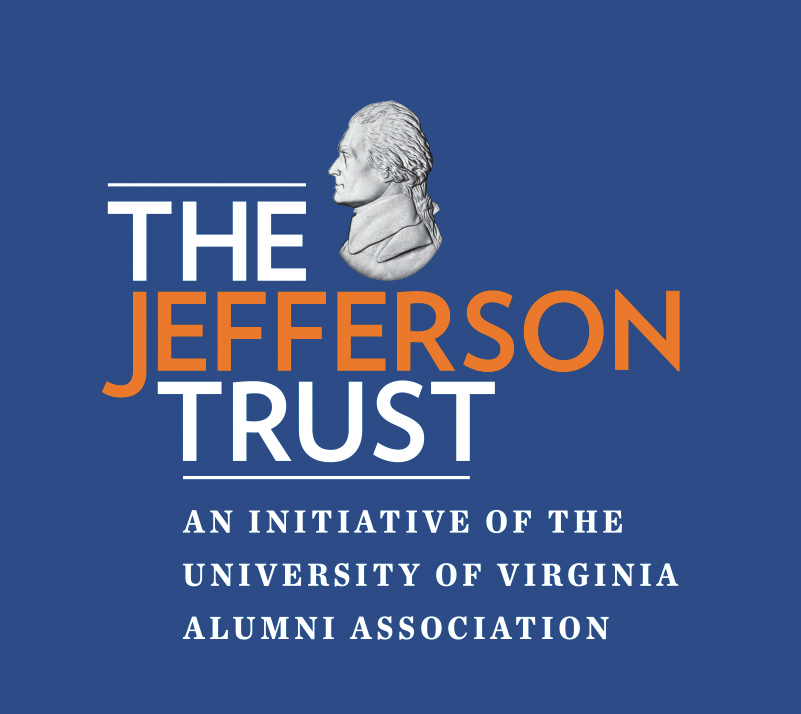 "Logo of the Jefferson Trust and the text ""An initiative of the University of Virginia Alumni Association""."