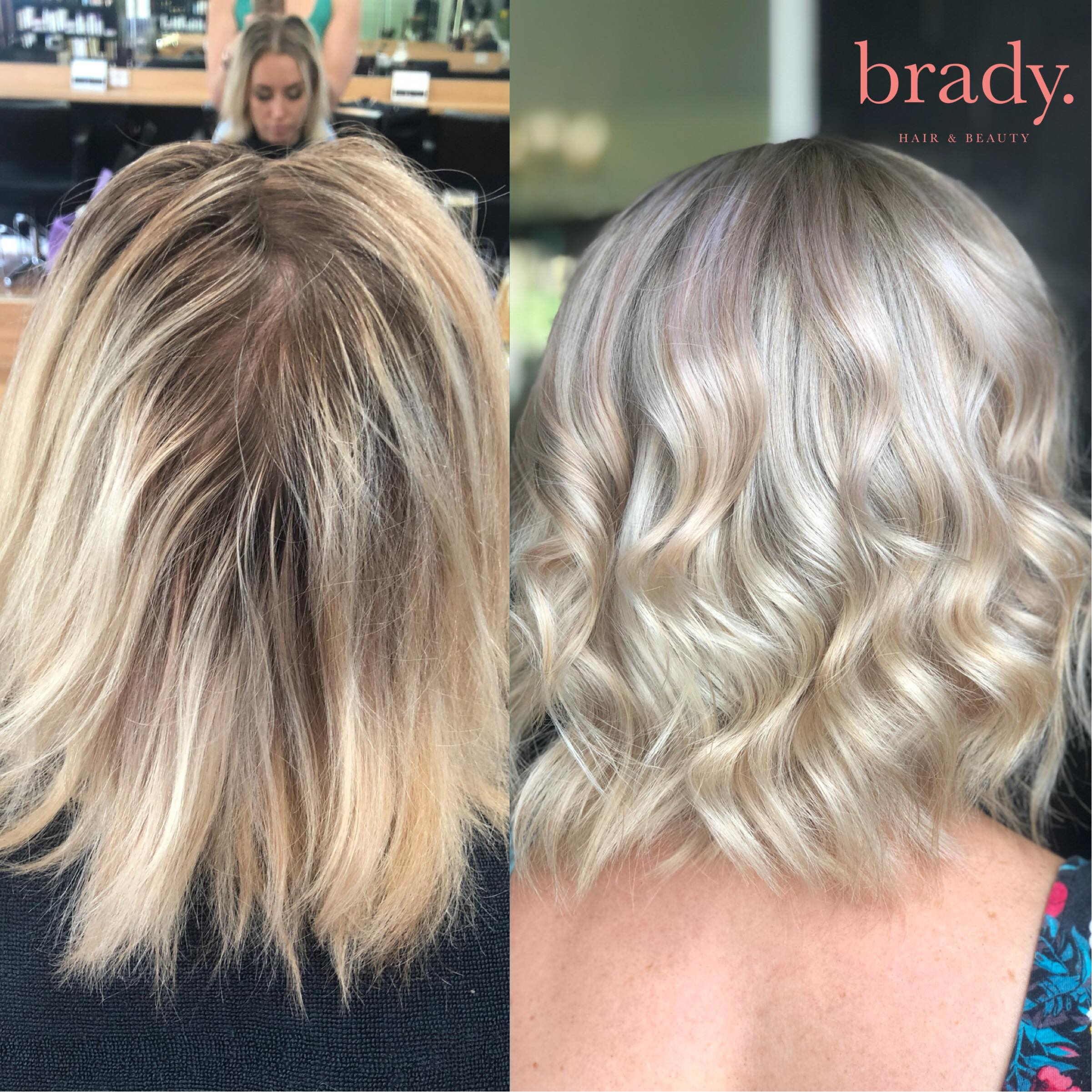 Before and after photo - medium wavy blonde hair styled by Brady. Hair & Beauty, Toowong, Brisbane.
