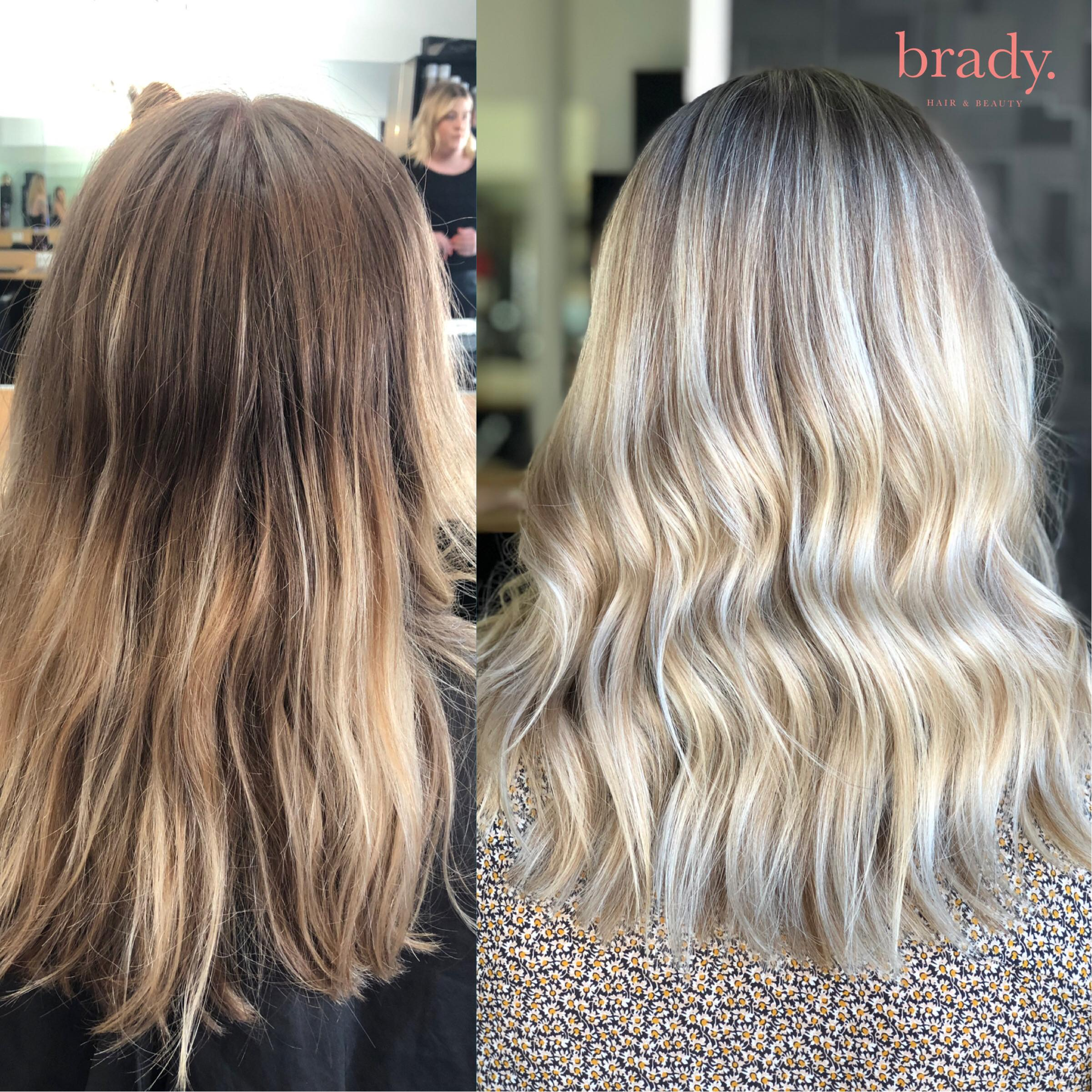 Before and after photo, medium wavy blonde hair styled by Brady. Hair & Beauty, Toowong.