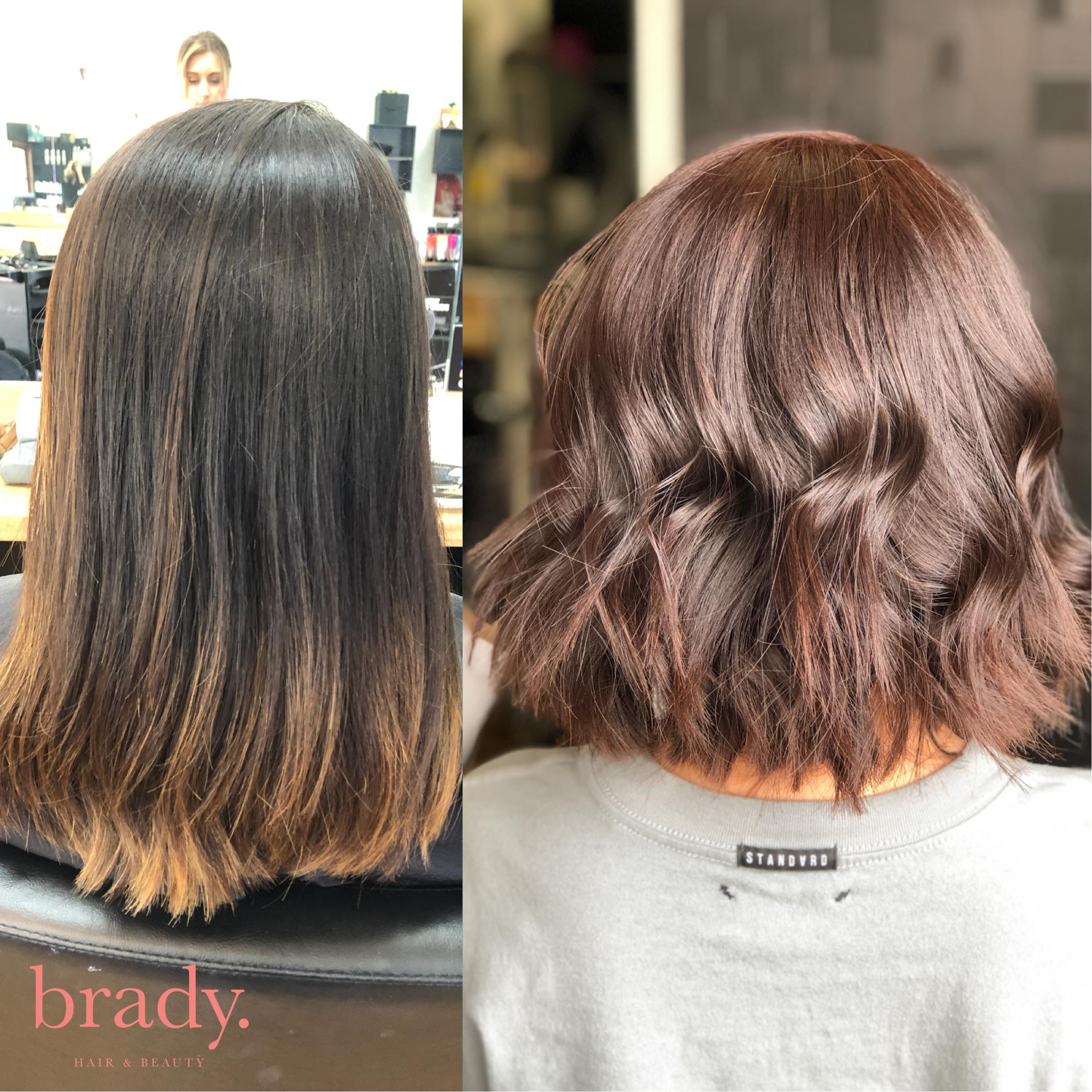 Before and after picture of woman with short, wavy, reddish brown hair styled by Brady. Hair & Beauty, Toowong, Brisbane.