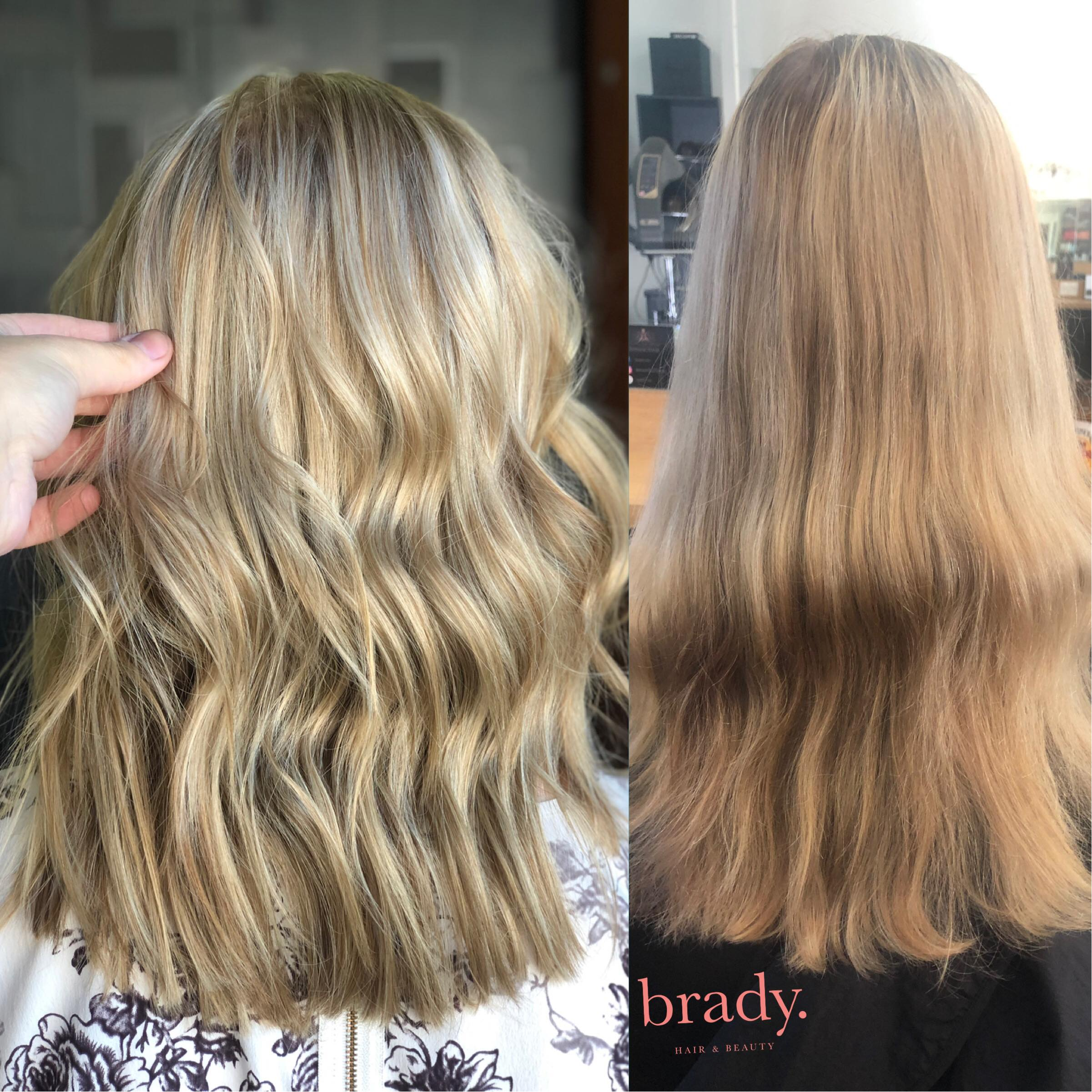 Before and after photo of woman with long medium ash blonde hair. Styled by Brady. Hair & Beauty, Toowong, Brisbane.