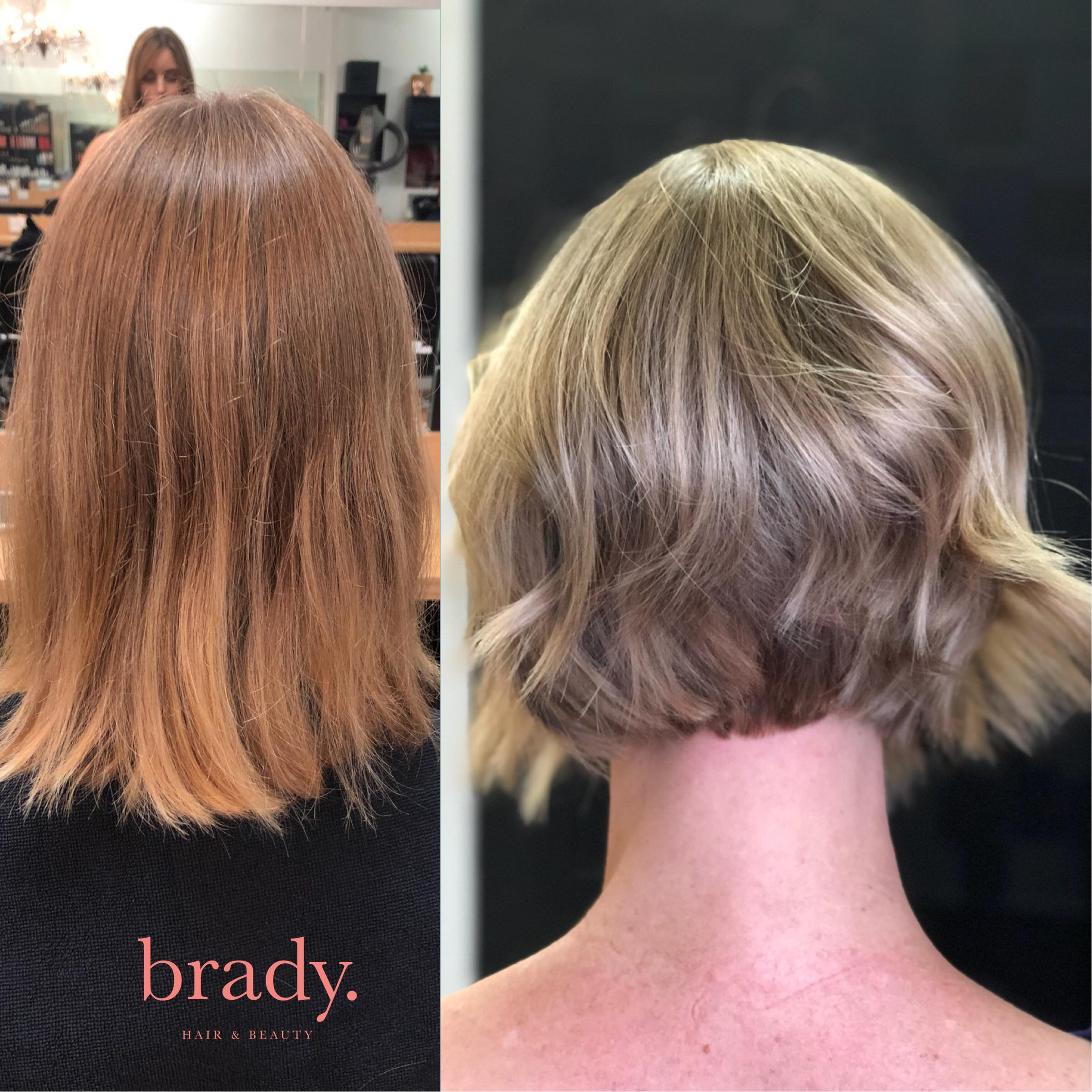 Before and after picture of hairstyle. Final result: woman with short, feminine haircut. Styled by Brady. Hair & Beauty, Toowong, Brisbane.