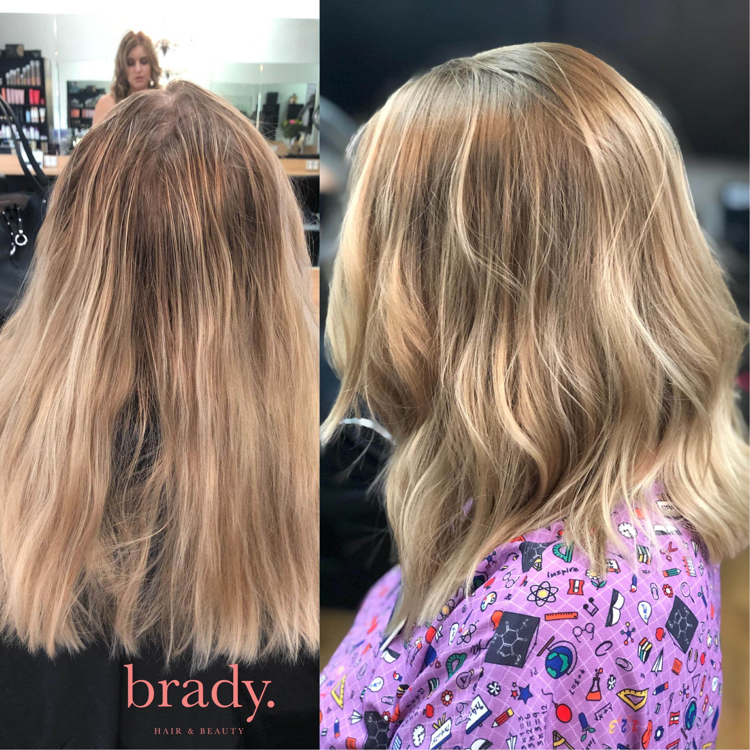 Before and after picture of hairstyle. Final result: woman with medium ash blonde wavy hair. Styled by Brady. Hair & Beauty, Toowong, Brisbane.