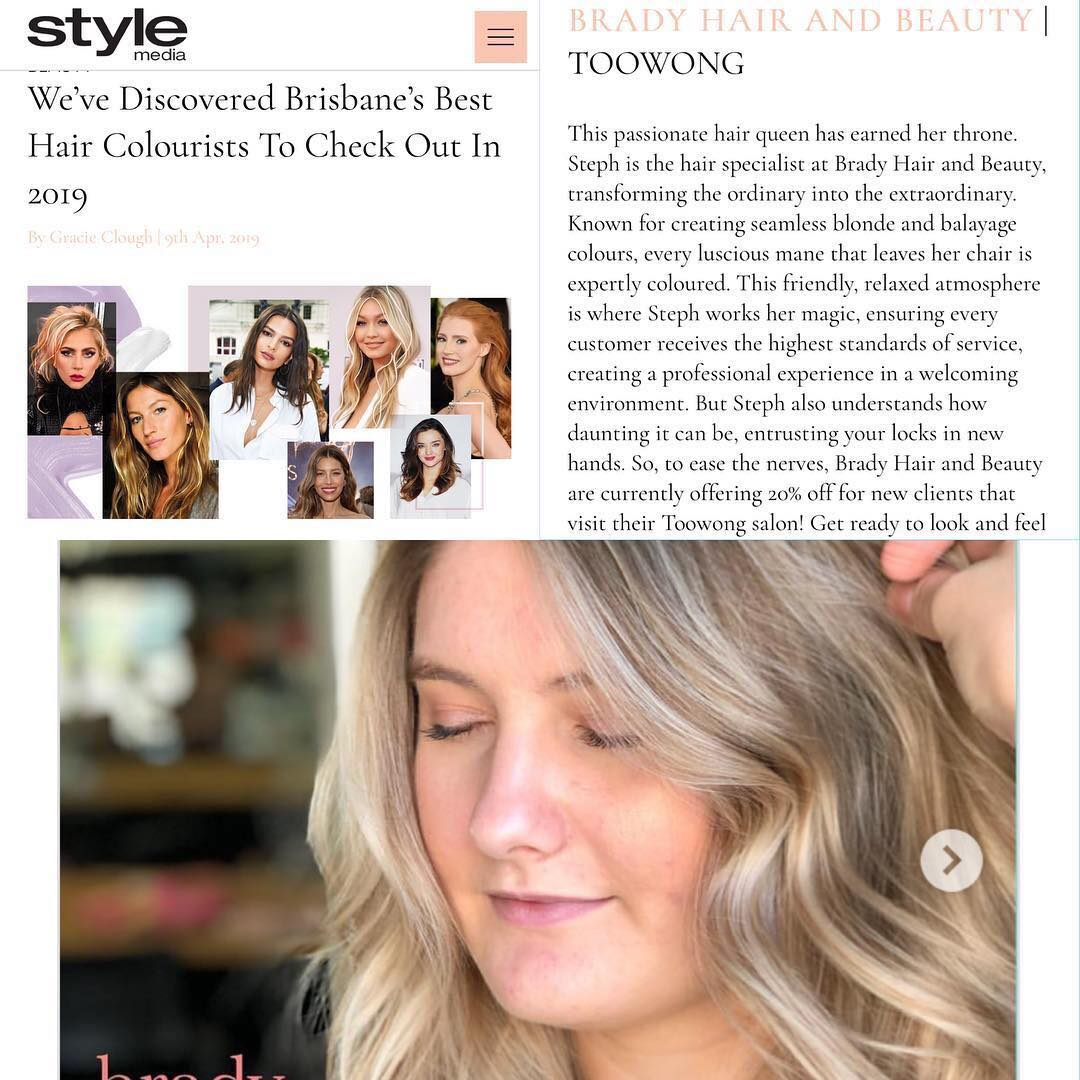 Image of Style Magazine article listing Brady. Hair & Beauty as one of Brisbane's best hair colourists in 2019.