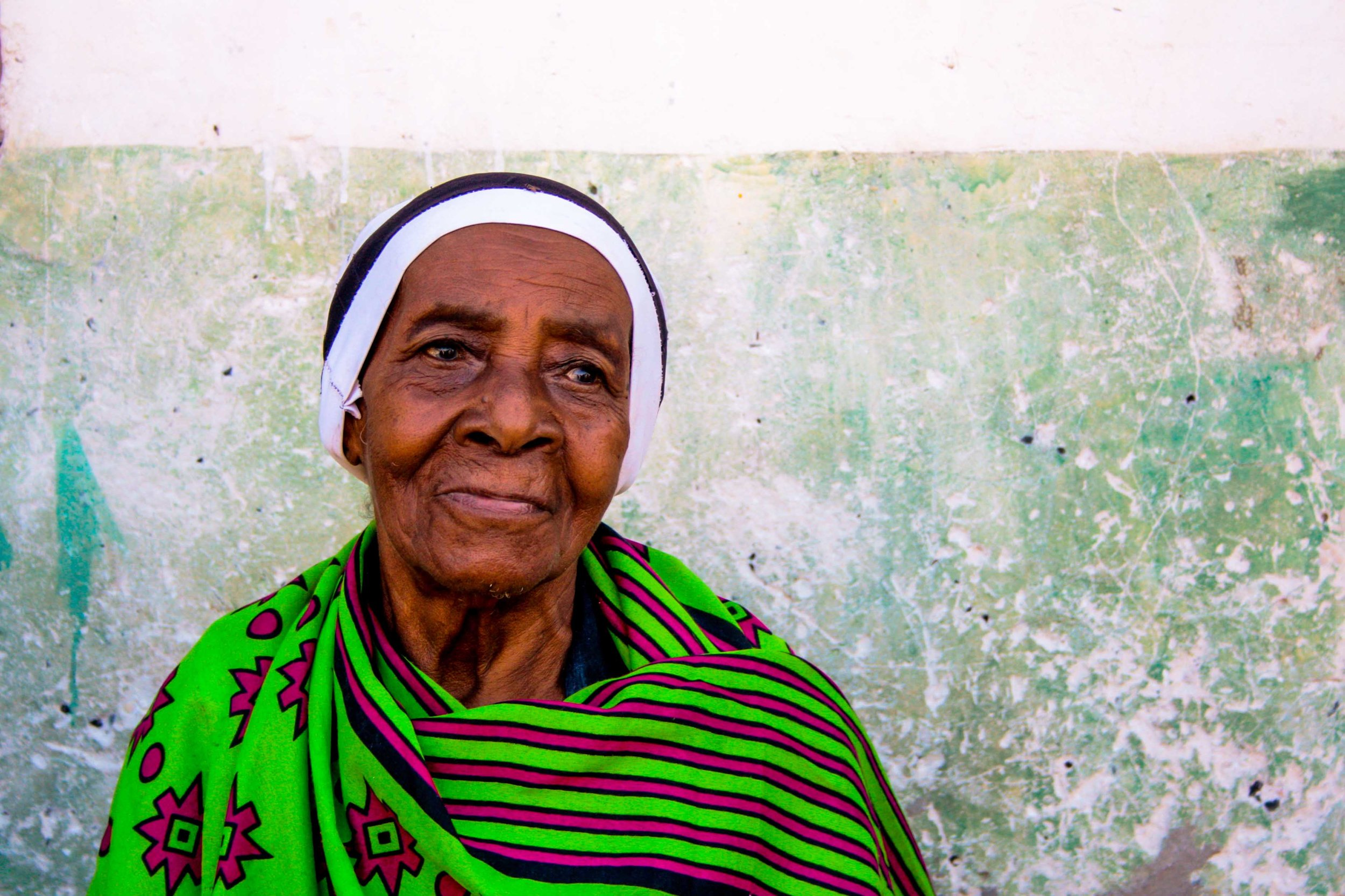 zanzibar 2015   the oldest family member on the wedding of her granddaughter in jambiani. after the celebration in her home village, the newly wed couple moved to stone town where the husband is coming from.