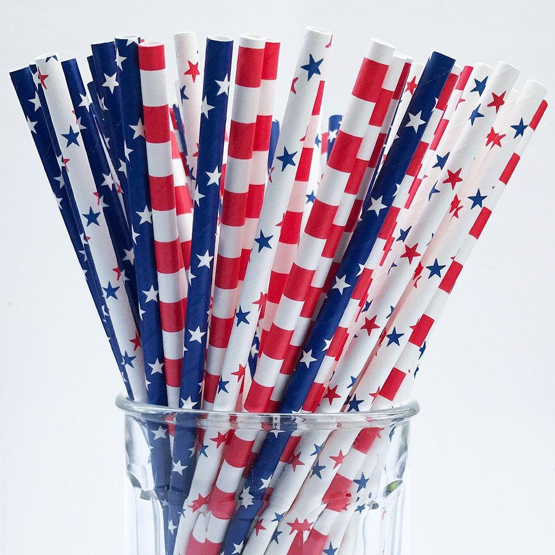 Patriotic Paper Drinking Straws