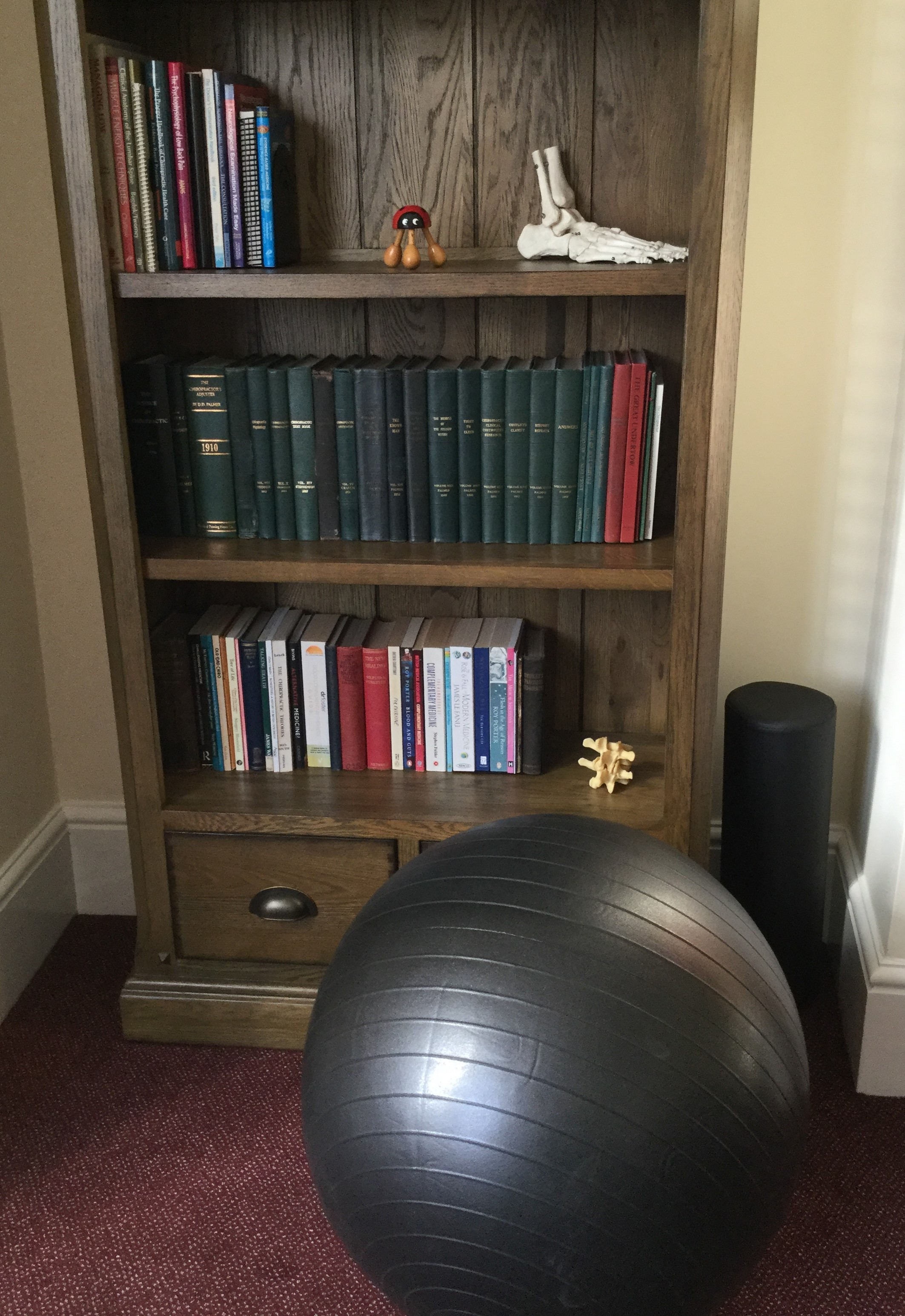 Consultation room showing bookcase and exercise ball