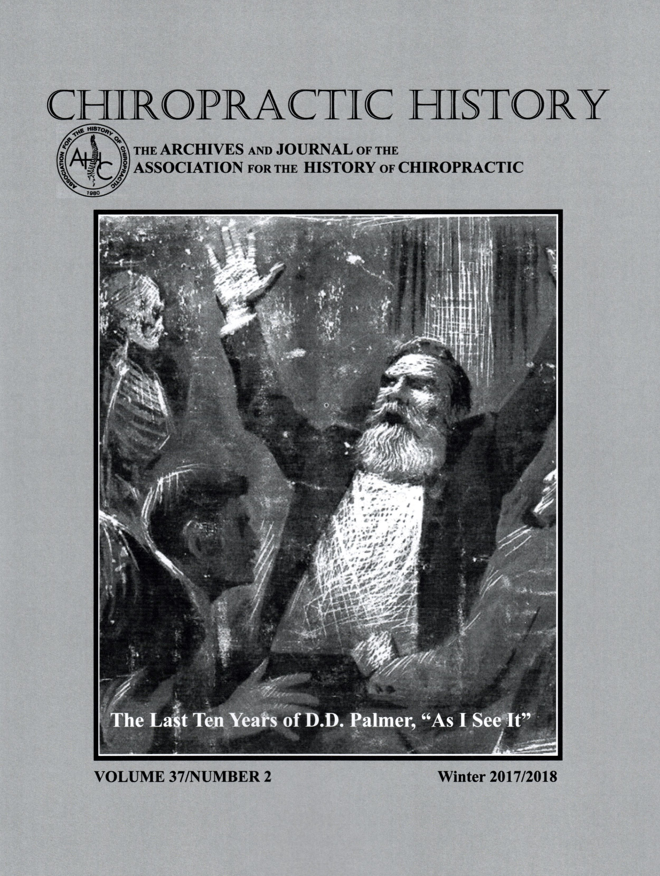 Cover of the journal 'Chiropractic History' (Winter 2017/2018)