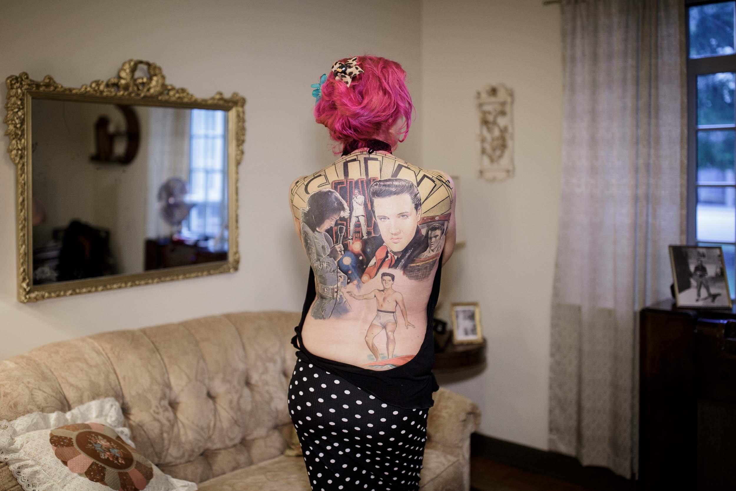 Amanda, from Scotland, her Elvis tattoos have taken 90hrs so far.