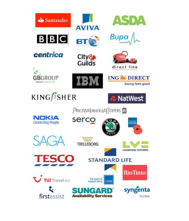 Private sector clients, Santander, Aviva, Asda, BBC, BT, Bupa, Tesco, PWC