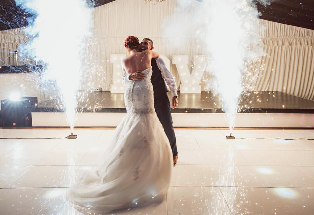 Roman Candles £60.00    They will be positioned on the dance floor and set off at an agreed time. This effect will send an elegant shower of sparks 8ft high and last 8 – 10 seconds.