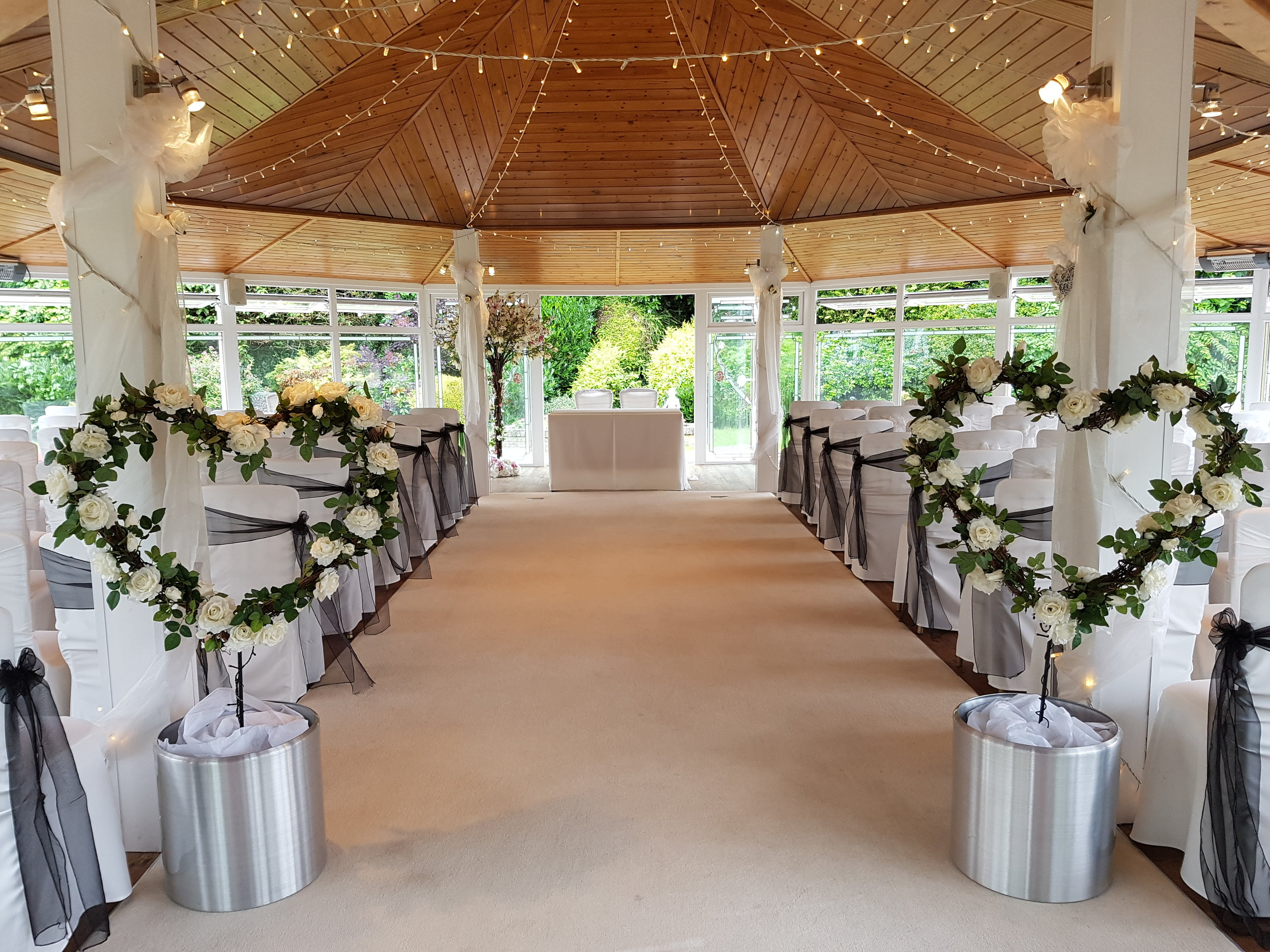Rose Hearts £75.00    Rose Hearts will set your entrance just beautify. Available to hire for 24 hours with your Love Letters, they can also be moved after the ceremony into your reception room.