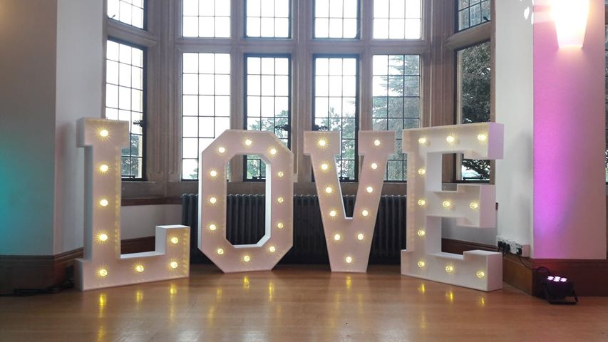 Giant LED love letters £150.00   Set the scene for your wedding with this stunning battery operated light up letters.