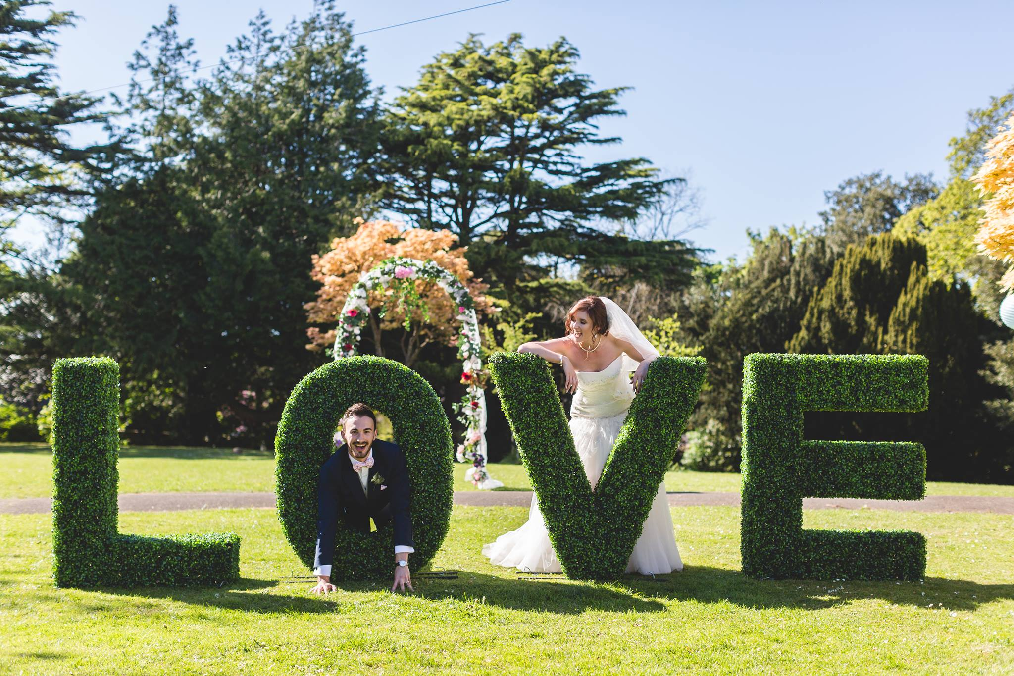 Topiary LOVE LETTERS £150.00   These Unique Topiary Love letters will be a talk of your wedding! We will set them up at your preferred spot in the garden on the morning of your wedding and we will pick them up the next day. Bring a bit of greenery indoors with LED fairy lights by transferring them inside for the evening reception.