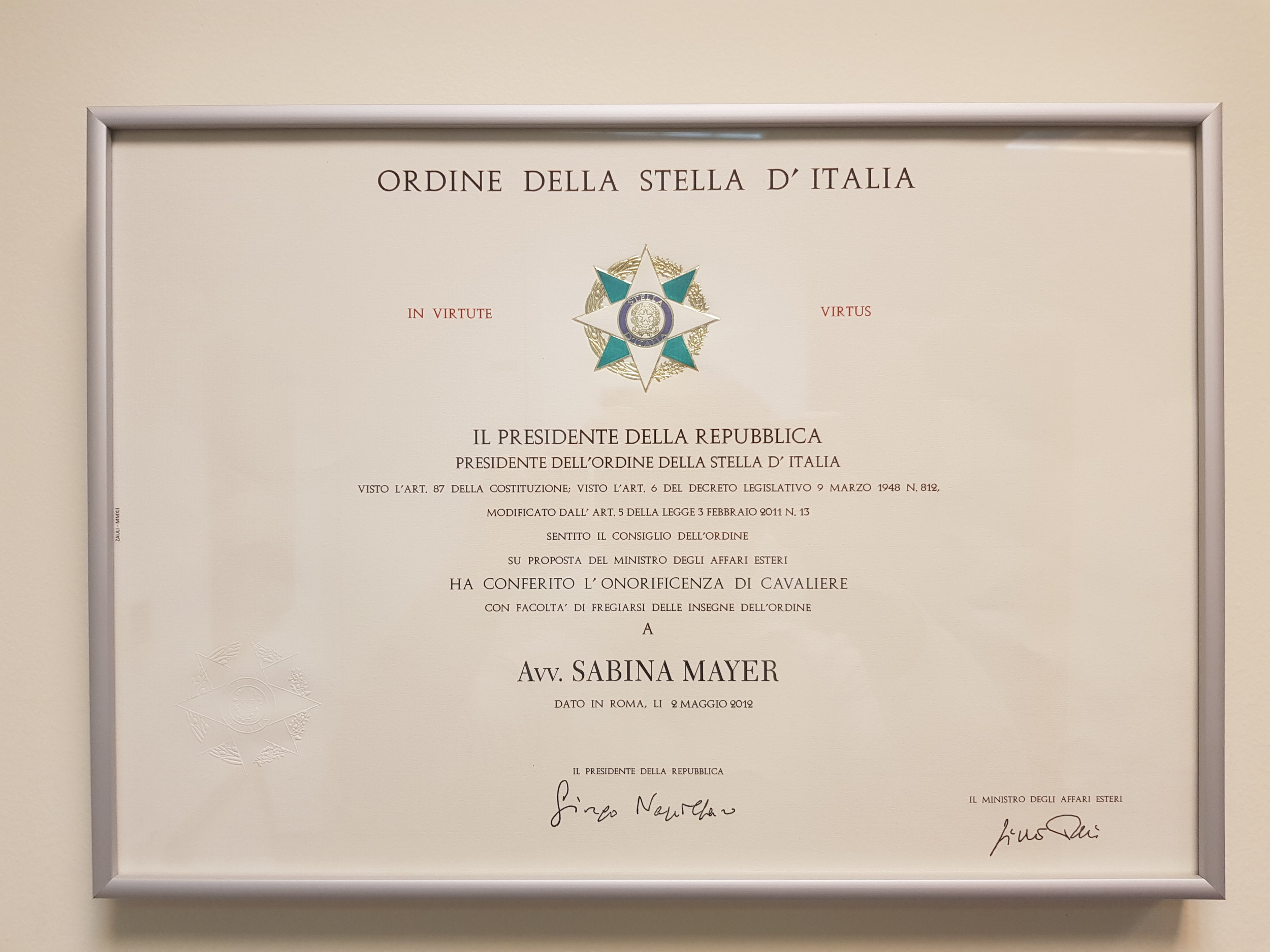 Onorificenza di Cavaliere dell'Ordine della Stella d'Italia