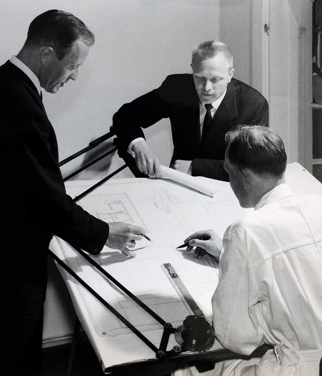 Bruksbo Tegnekontor. Fra venstre Torbjørn Afdal, Gunleik Svartdal og Rolf Hesland.