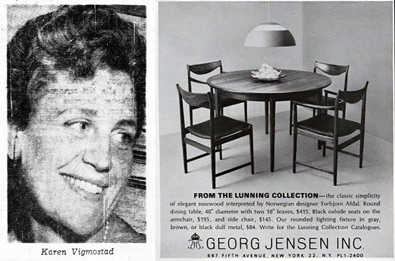 Til venstre: Karen Vigmostad. Til Høyre: Reklame for Georg Jensen Inc. i New York.
