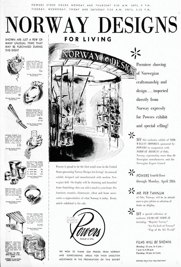 Reklame for Norway Designs for Living utstillingen hos Powers Department Store.