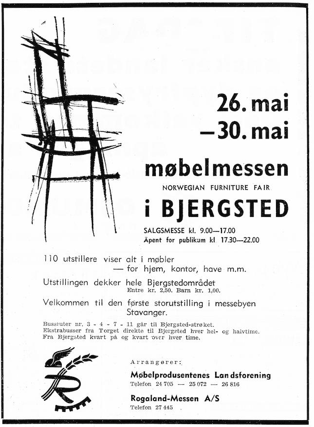 Annonse for Norwegian Furniture Fair i Stavanger, 1961.