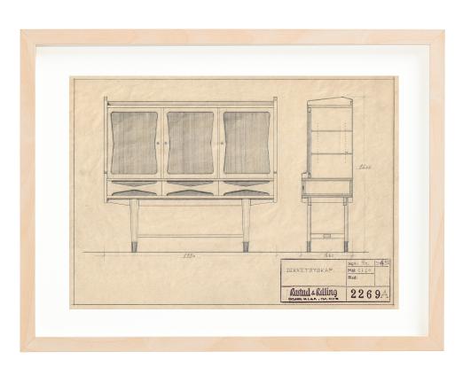 Sideboard by Torbjørn Bekken. Signed 1954. Made for Gustav Bahus. Ca. A4 size. Pencil. Mounted on 30x40 cm backing board. Price NOK 4000.