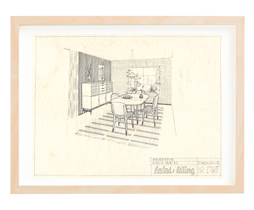 Kåre Skjæveland, dining room. 1951. Ca. A4 size. Pencil. Mounted on 30x40 cm backing board. Price NOK 2000.