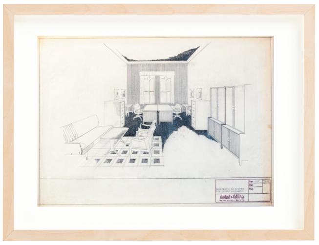 Perspektiv av kontor for Stortingsmenn. 1956. Drawing by Sigurd Resell. Pencil. Mounted on 40x50 cm backing board. Price NOK 6000