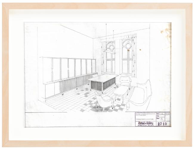 Stortingsbygningens utvidelse. Presidentkontor. 1956. Drawing by Sigurd Resell. Pencil. Mounted on 40x50 cm backing board. Price NOK 6000