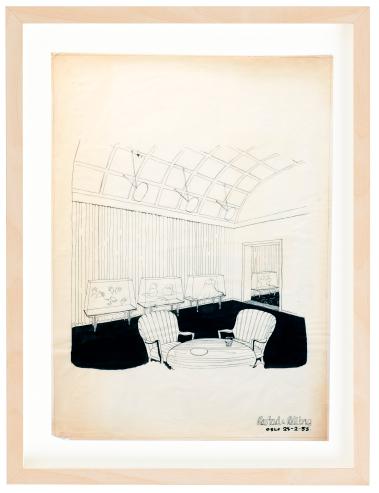 Grand Hotel Oslo. 1953. Drawing by Torbjørn Bekken. Pencil. Mounted on 40x50 cm backing board. Price NOK 5000