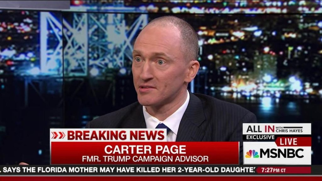 CARTER PAGE - Former foreign-policy adviser to Donald Trump during his 2016 presidential election campaign