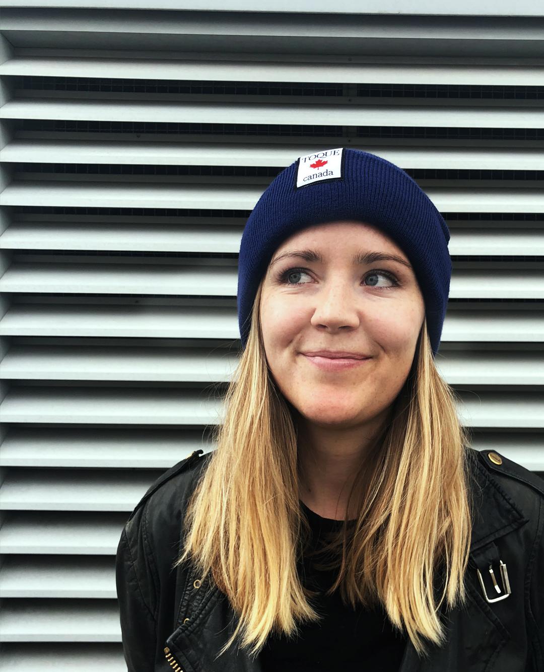 Founder Lara in a Nova Scotia Bluenose Blue Toque -
