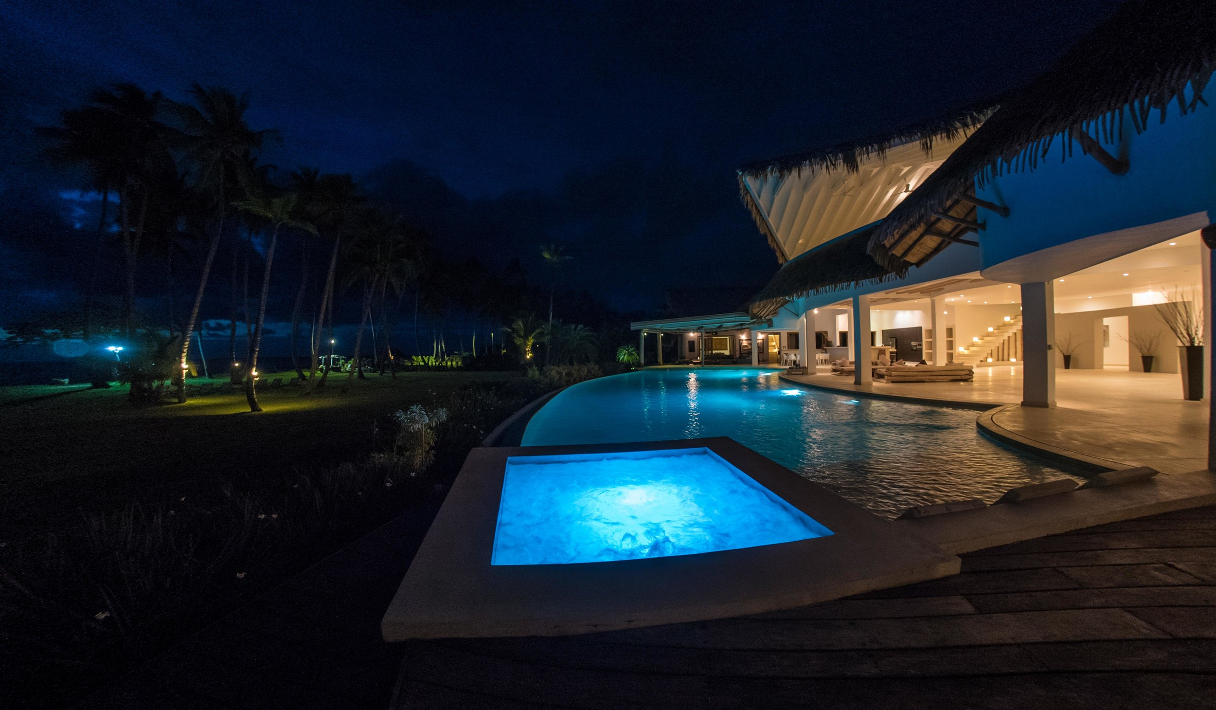 Villa for Sale Las Terrenas Pool by night.jpg
