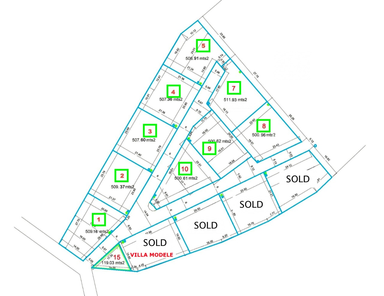 Last lots available for sale marked with green squares