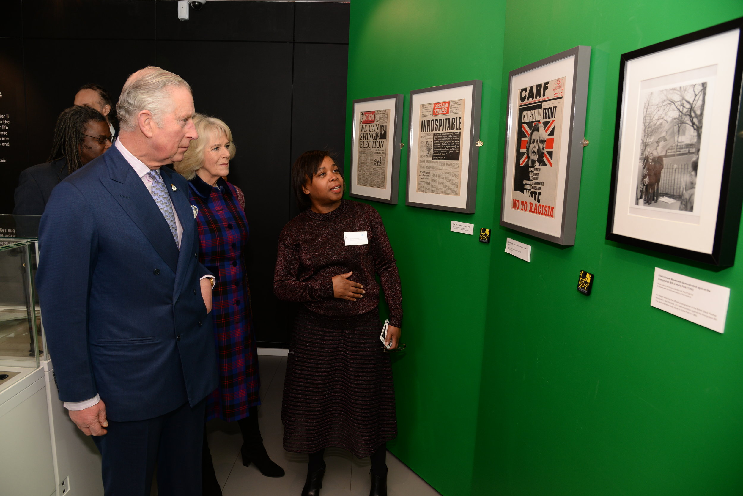 LR: The Prince of Wales and Duchess of Cornwall with Doreen Foster, Deputy Director Black Cultural Archives. ©Sharon Wallace.