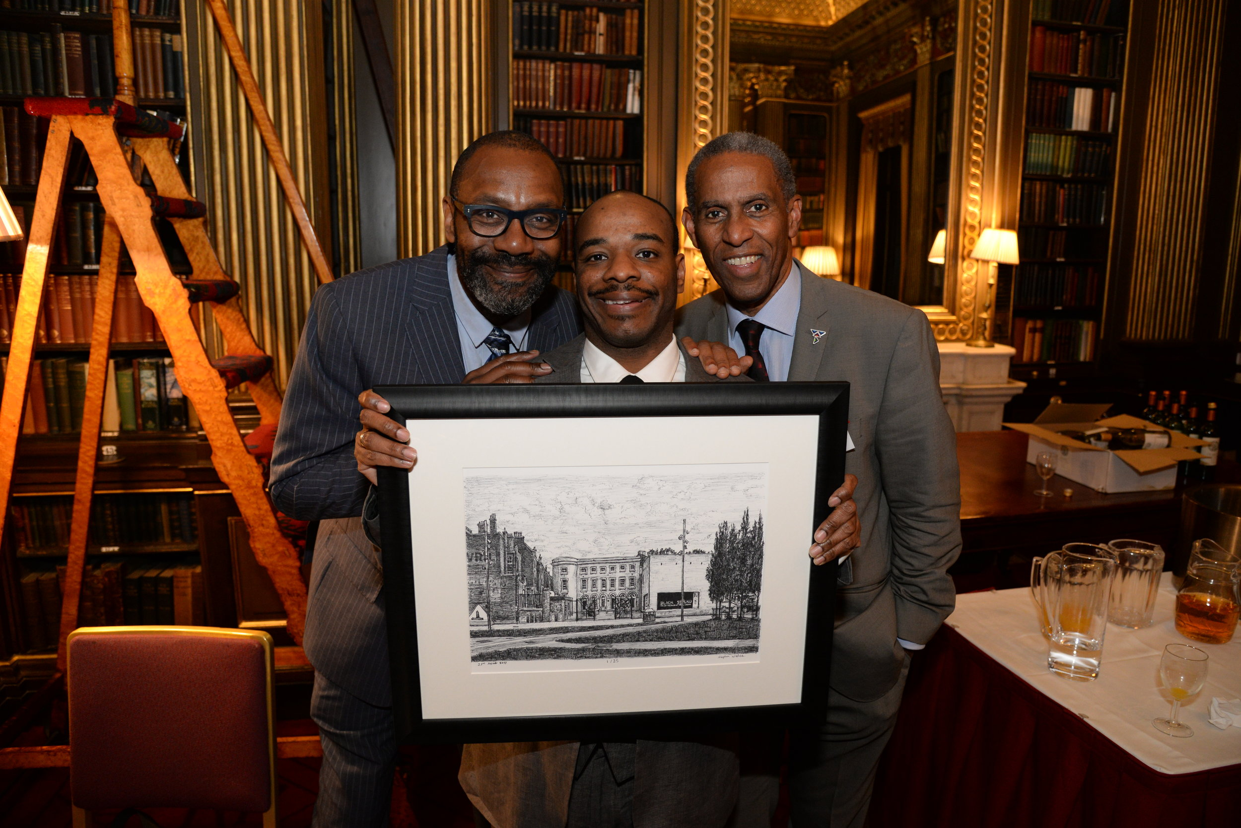 Sir Lenny Henry, Stephen Wiltshire MBE and Conrad Peters, BCA Trustee