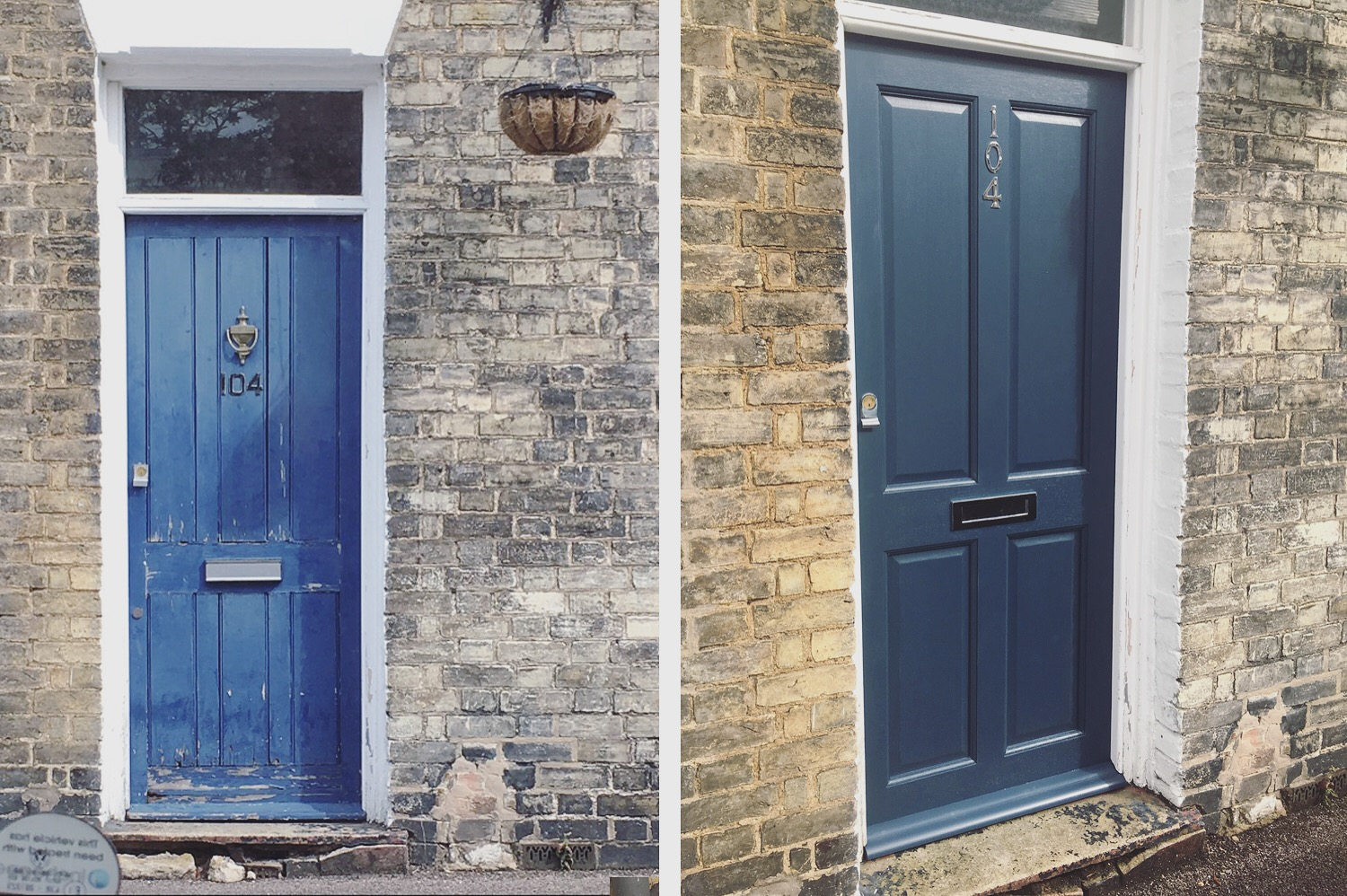 A nice before and after shot of our finished door, just off Mill Road in Cambridge.