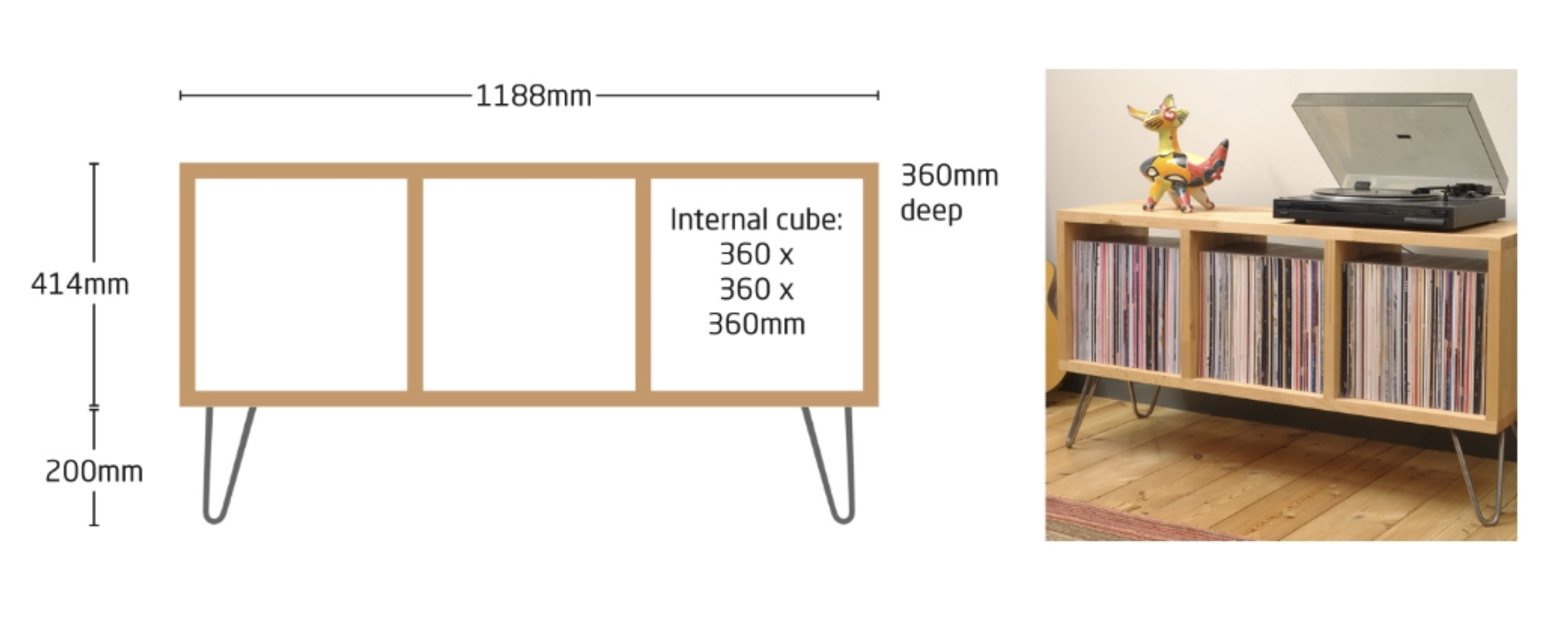 Cubed 'Trio'. Price in solid beech with hairpin legs £545.  Add a back for £85 and/or a cable tidy for £55.