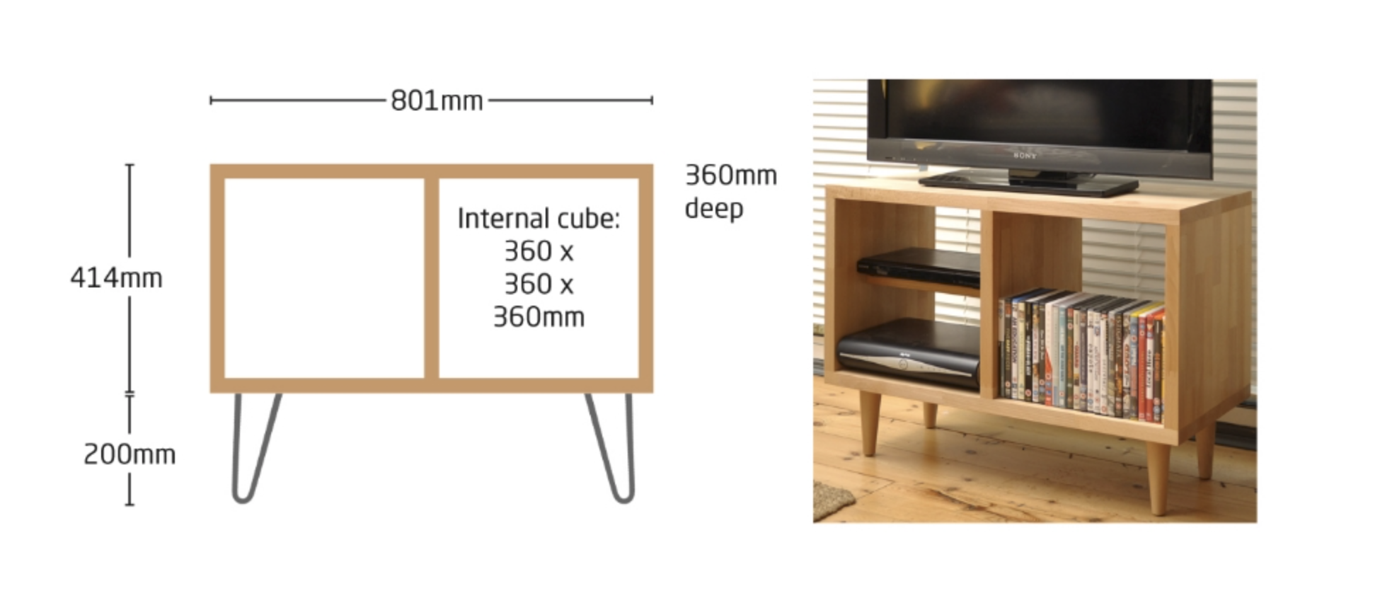 Cubed 'Duo'. Price in solid beech with hairpin legs £395.