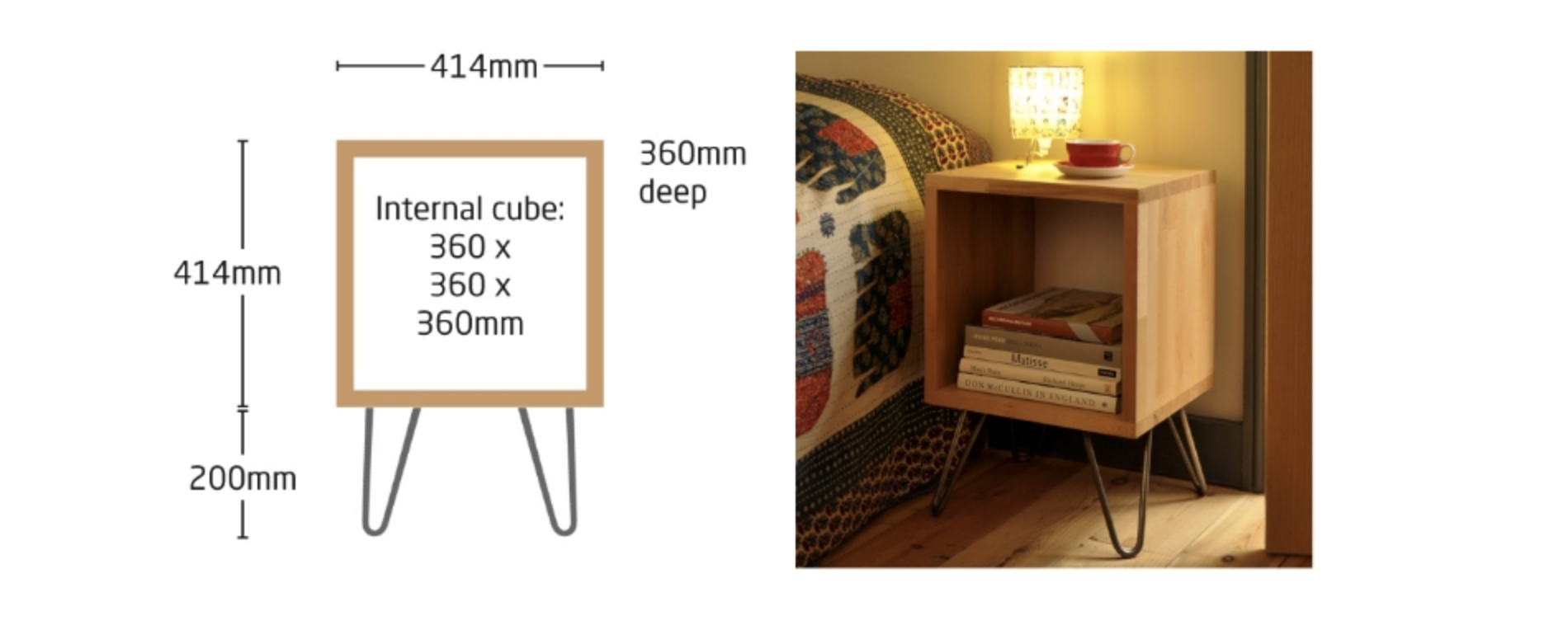 Cubed 'Mono'. Price in solid beech with hairpin legs £275.  Add a shelf for £45 and/or a door for £75 - both in solid beech.