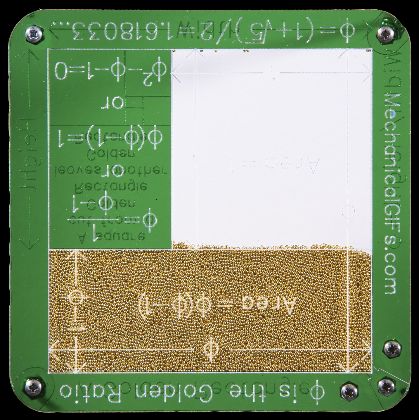 On the back side of the model the engraving shows how a golden rectangle can be split into an infinite number of squares and smaller golden rectangles.