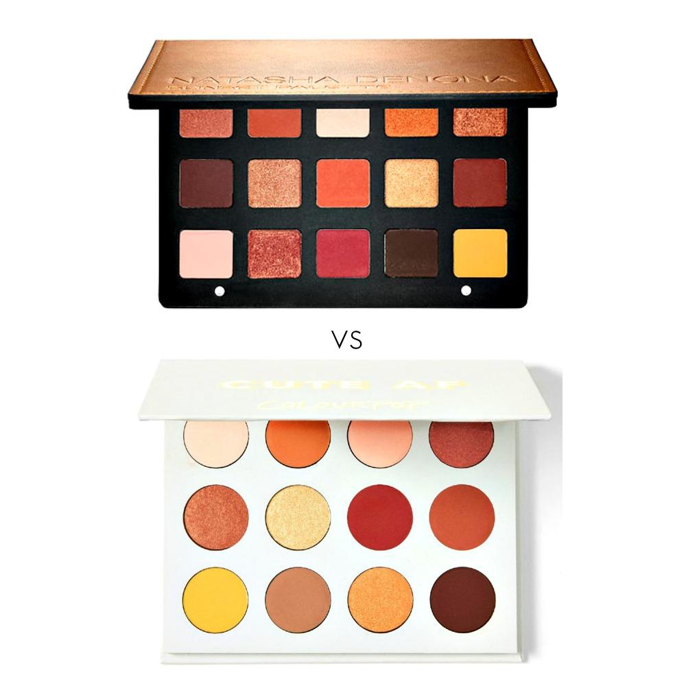 Top: Natasha Denona Sunset Palette, $129, sephora.com     Bottom: ColourPop Yes, Please Palette, $16 colourpop.com