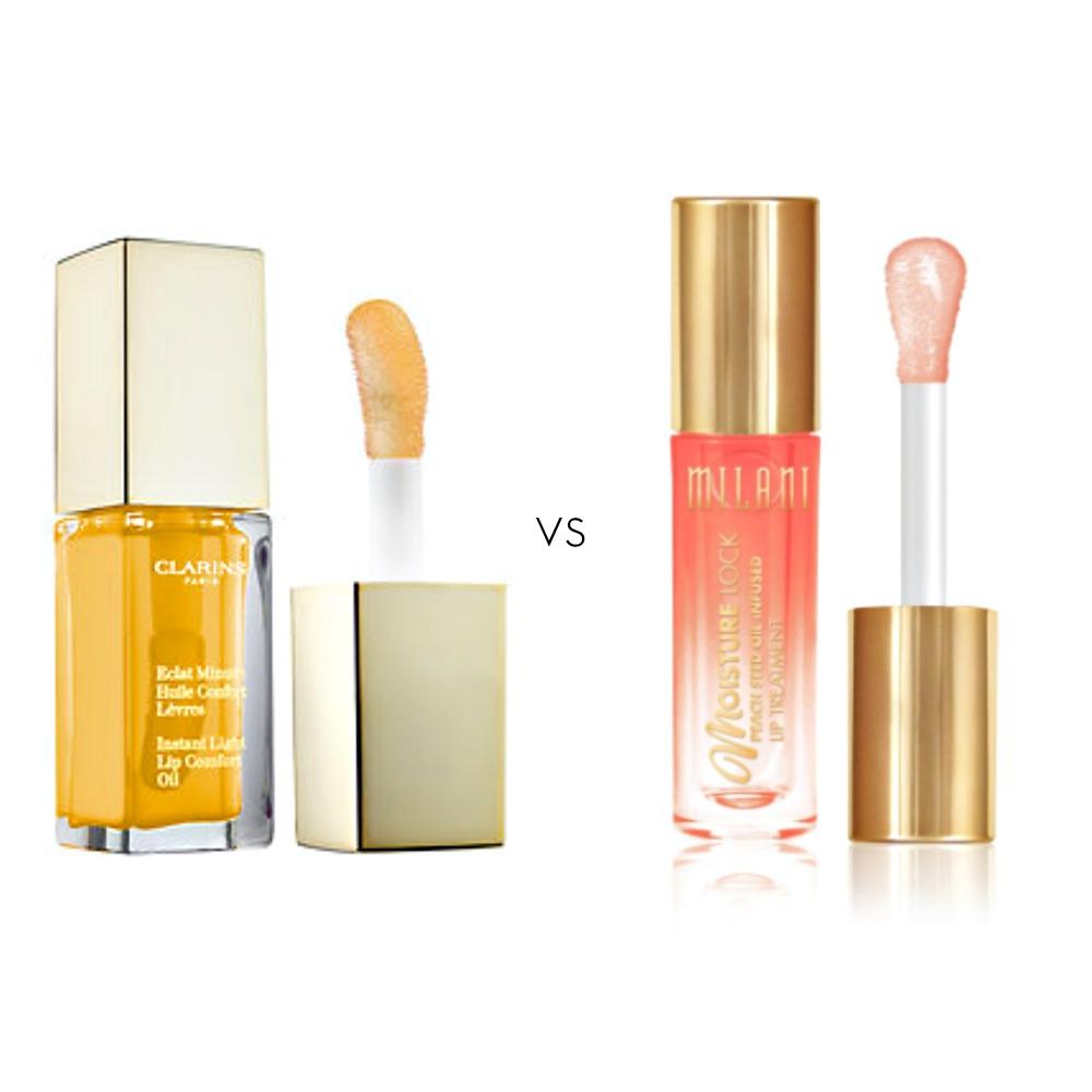 Left: Clarins Instant Light Lip Comfort Oil, $26 sephora.com    Right: Milani Moisture Lock Lip Oil, $8 milani.com