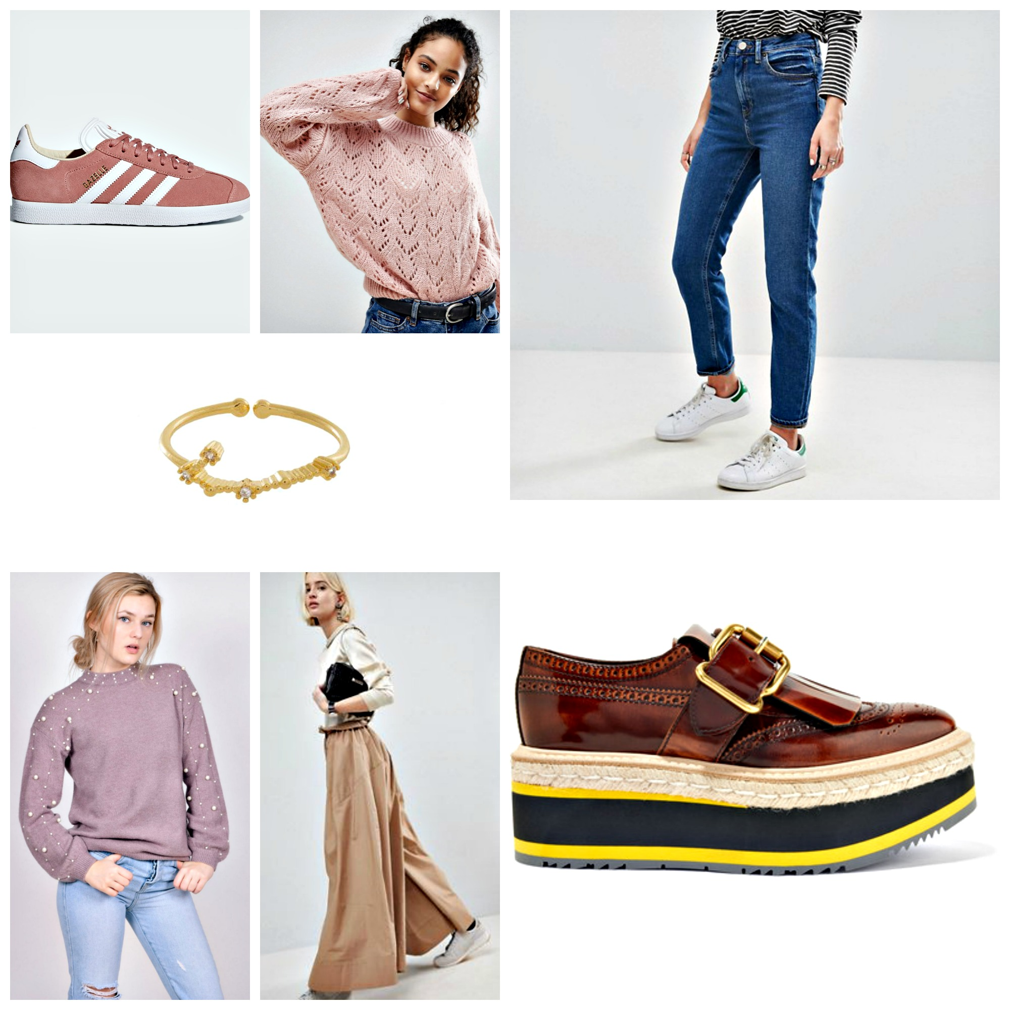 From top left to right clockwise: Adidas Original Gazelle, Nobody's Child Relaxed Textured Knit Jumper, Asos Farleigh Mom Jeans, Prada Platform Brogues, Asos WHITE High Waist Wide Leg Trouser, Mod & Soul Lavender Pearl Sweater Wanderlust & Co Gemini Zodiac Ring in Gold