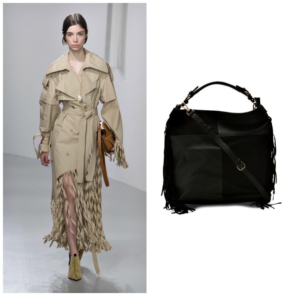 Left: Loewe Spring 2018 Ready To Wear  Right: Moda Luxe Fringe Hobo Bag, TJ Maxx, $29.99